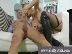 Blond slut fucks old man hard and deep