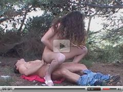 Curly Brunette Fucked in the Woods