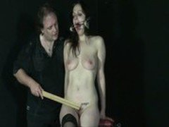 Amateur slavegirl Beauvoir is gagged and punished