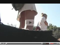 AWESOME AMERICAN COLLEGE PINK THONG UPSKIRT!!!
