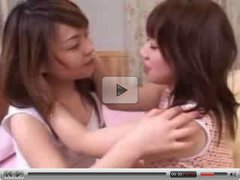 Lesbian Japanese teens kiss and touch