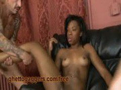 Two White Dicks Fucking Her Ebony Snatch