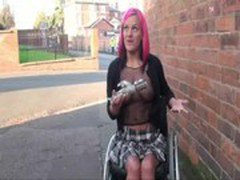 Redhead wheelchair bound babe Leah Caprice flashing and masturbating in public