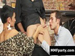 Sexy european woman and bisexual dude share a cock in a bar