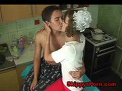 Horny young couple fuck in kitchen
