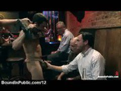 Tied up gagged gay touched in public bar