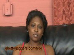 White Dick Pushes Her Ebony Gag Reflex