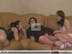 Two Young Teen Girls play with an Old Mom...F70