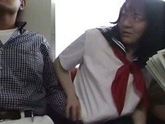 Japanese teen in school uniform has threesome Uncensored