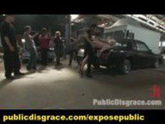 Public Slave Group BDSM Maledom Gangbang Humiliation in Garage