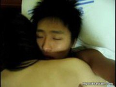 Asian amateur teen sucks and fucked at home