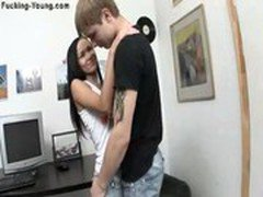 Brunette Russian teen fucked on the office table.