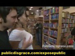 Public Slave Group BDSM Banging and Humiliation in Book Store