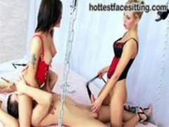 Two Mistresses Dasha and Viola play with their slave