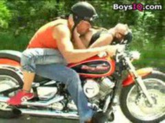 Driving with her is dangerous, better stop the motorcycle and fuck her! - BoysIQ.com sex video