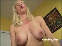 Busty blonde mom and slutty daughter take turns riding stiff dick