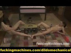 Trhee Mechanical Dildo One Girl and lesbian Machine Cuming