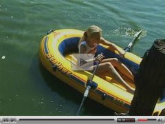 Adorable barely legal teen rubs one out on a raft