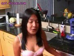 Asian Teen On The Counter