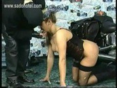 Chubby crying slave is forced to crawl over the floor and is spanked on her beautiful ass