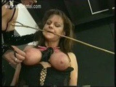 Slave with tied up tits and huge clamps on her pussy got played by her horny good looking mistress
