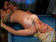 Hot blonde gets her pussy licked and fucked on a pool table