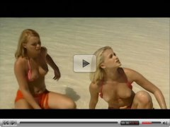 Two Blonds and One Guy on the Beach. Nice Sex. Anal