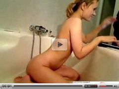 Hot Blonde Masturbates In The Tub