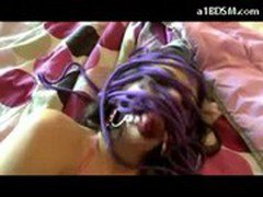 Cute Girl Tied To Bed Mouthgag Getting Her Pussy Fucked