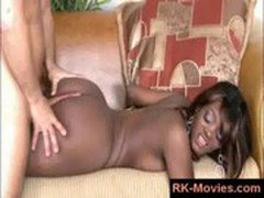 Black girl gets her round booty ass fucked and jizzed all over