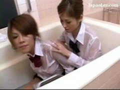2 Cute Schoolgirl In Uniform Covering Bodies With Jelly Rubbing Tits In The Bath Tube