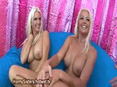 Blonde Sisters Caught On Cam Playing With Big Boobs