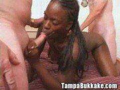 Ebony Girl Four Way Bukkake Party