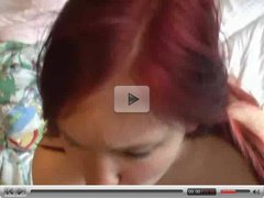 Chubby teen redhead blowing and fucking
