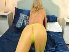 Yellow pantyhose on beautiful princess