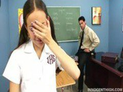 Cute Asian teen forced to suck her profs cock as punishment
