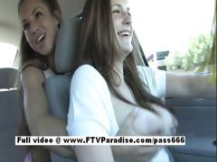 Awesome girl Tara girl public masturbating in the car