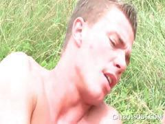 Two horny gay studs having anal sex outdoor