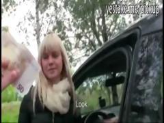 Busty blonde euro girl has sex in car