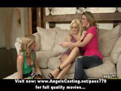 Three blonde lesbian girls undressing and licking and toying pussy