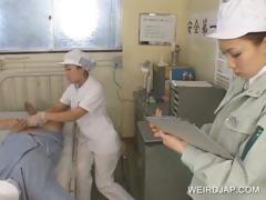 Asian nurses giving BJs to patients