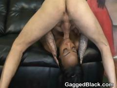 Dirty Black Slut Face Fucked By White Cock On Sofa