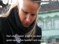 Innocent Czech girl takes money from stranger for public sex