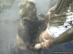 Nasty mature housewife covered with mud part4