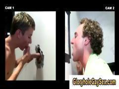 Straight guy gets cock sucked by gay through gloryhole