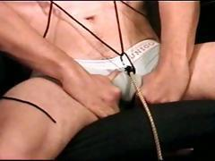 Self CBT TT session with young stud with tit clamps squeezes his balls while he jacks off.