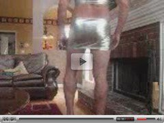 Jerkin Off - Wearing Slutty Silver Micro Mini Outfit