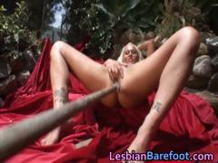 Hot Outdoor Lesbian toes and woody dildo part4