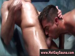 Extremely gay bunch enjoy ass fucking in a particularly hot sauna