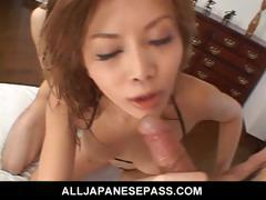 Fit Japanese cougar fucks in a tiny bikini
